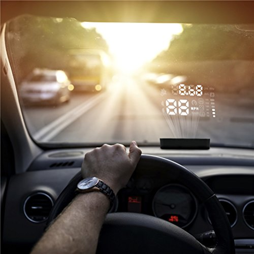 AUTOOL 12V Car HUD OBD Head Up Display KM/H MPH Speedometer Overspeed Alarm Engine Trouble Alarm Water Temperature Gauge Car Windshield Projector with Film