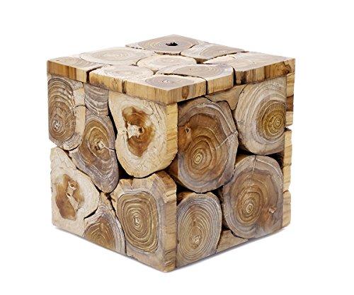 Teakholz Rustikal Couchtisch (Beistelltisch Teakholz Holz Couchtisch Tisch Massiv Vintage Landhaus Edel Schwer Braun Weiß Schwarz Lackiert Brillibrum Flyer (Tisch - klein / White Wash))