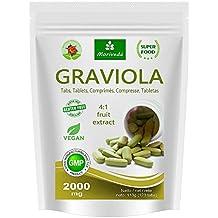 Graviola Presslinge 120 x 2000mg Frucht- und Pflanzenextrakt 4:1 Vegan, Qualitätsprodukt von MoriVeda – Sauersack (1x120 Tabs)