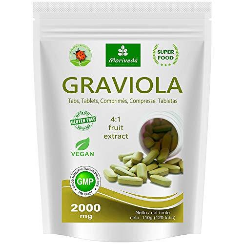 Graviola tabletas 120 x 2000mg extracto de fruta 4:1 vegano, producto de calidad de MoriVeda (1x120 Tabs)