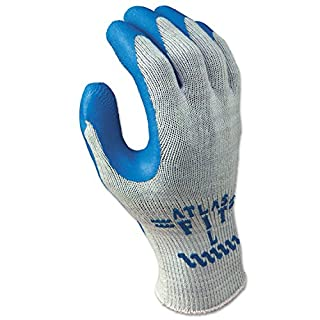 SHOWA 300XL-10 Atlas Fit 300 Rubber-Coated Gloves, XL, Gray/Blue (Pack of 12)