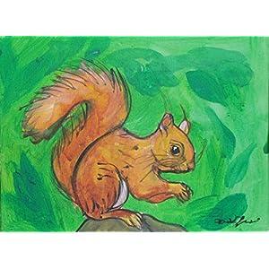 Die Eichhörnchen-Acryl-Malerei auf Leinwandpapier, Maße cm 24x18x0,3 cm, bereit, an der Wand befestigt zu werden.Hergestellt in Italien, Toskana, Lucca. Erstellt von Davide Pacini.
