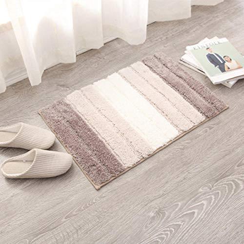 Shaggy Für Flur Gestreifte Fläche Für Schlafzimmer Teppich Anti Slip Für Küche Bad Bodenmatte Beige und Weiß,50x80cm (Haut-farbe-öl-pastell)