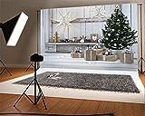 YongFoto 1,5x1m Vinyl Foto Hintergrund Weihnachten Baum Geschenke Box Shining Star Ric Holz Plank Stripes Holzboden Fotografie Hintergrund für Fotoshooting Portraitfotos Party Kinder Hochzeit Fotostudio Requisiten