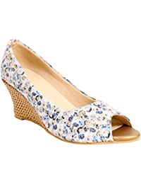 Kraft Cellar Blue Floral Casual Peep-toe Wedge For Women