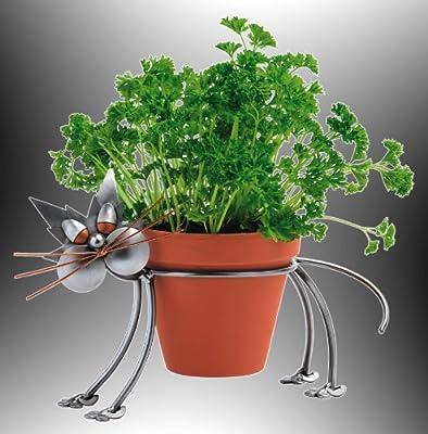 Boystoys HK Design - Blumentopfhalter Katze Metall Art Blumenhalter ca. 12 cm Durchmesser - Original Schraubenmännchen Kollektion - handgefertigte Geschenkidee von Boystoys HK Design - Du und dein Garten