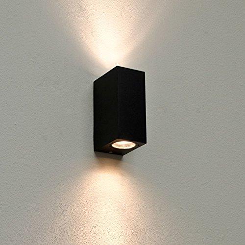 'Design Aalborg rectangulaire en noir/Antique Applique murale extérieur 2x GU10IP44Lampe d'extérieur résistant aux intempéries
