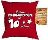 Mädchen/Geburtstags/Deko-Kissen inkl. Spaß-Urkunde: Meine Prinzessin ist 10 Jahre tolles Geschenk 10.Geburtstag