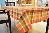 #3: 100%Cotton Tangy Orange Check Table Cover 6 Seater - Size 150x210CM