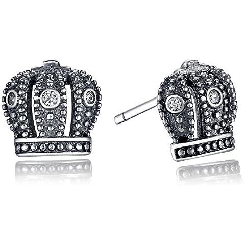 Wostu in argento Sterling 925 e orecchini a perno a forma di corona reale, con zirconia cubica, regalo ideale per il compleanno, da donna