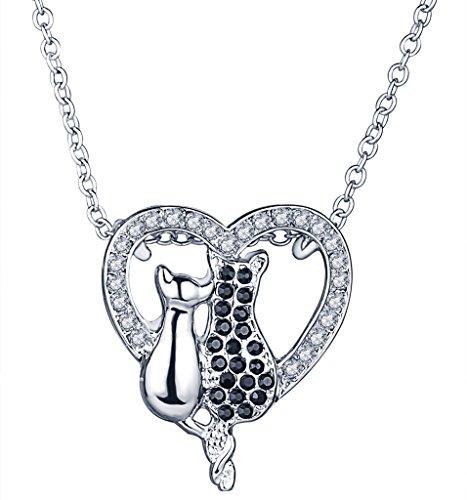 Yumilok Süße Schwarze Weiße Doppel Katzen Kätzchen Herz Anhänger Halskette Legierung Strass Kettenänhanger für Damen (Schwarze Katzen Halloween Niedliche)