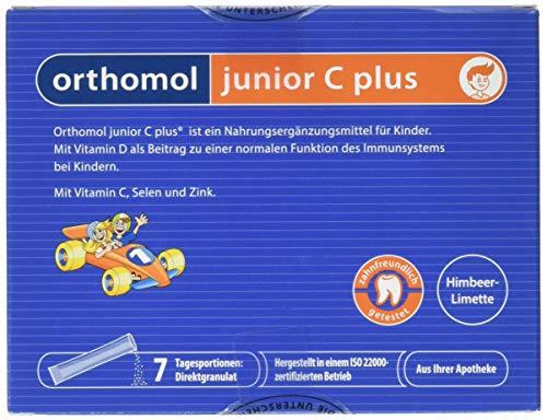 Orthomol junior C plus 7er Kinder Direktgranulat, Himbeer-Limette - Vitamine & Spurenelemente für das Immunsystem
