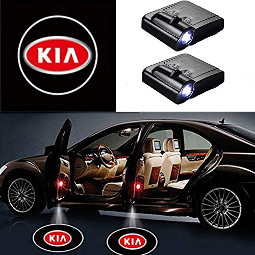 MIVISO LED Auto Projektor, 2 Stück Autotür Willkommen Schatten Licht, Universal Wireless Magnetic Sensor Shadow Logo Lampe -