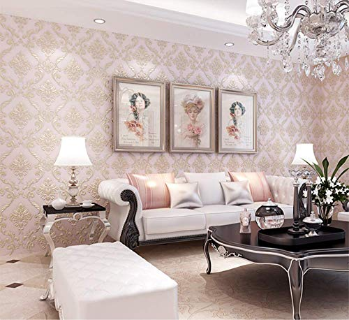 Luxus EuropäIsche Tapeten, Vliestapete Rolle, Geeignet FüR Schlafzimmer Wohnzimmer TV Hintergrundbild, 0.53M * 9.5M, Hellrosa Eines -
