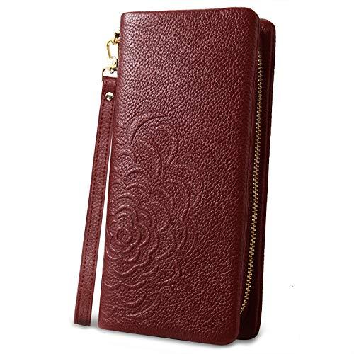 YALUXE Geldböse Damen Armband Clutch Design Rose Blume Brieftasche aus Echtleder für Frauen mit Rotweinband -