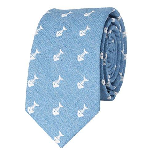 Panegy Vintage Homme Cravate Slim en Coton Imprimé Fleur Costume Chemises Réglable pour Soirée/Business/Mariage/Cérémonie Cadeau de Fête/Noël/Anniversaire 146*6cm Denim Arête