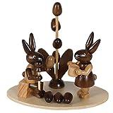 Osterhasen-Paar beim Eier bemalen, H: 8 cm aus Holz im Erzgebirge Stil, Osterdeko, Osterfigur