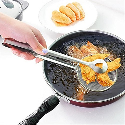 SHUFAGN,Ein multifunktionaler Edelstahl-Siebfilter, gebratener Lebensmittelclip, kreativer Filterlöffel(color:SILBER,size:28X10CM)