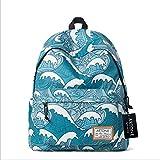 Artone Kanagawa Surfing Acolchado Colegio Bolso Mochila Casual Mochila Con Ordenador Portátil Compartimiento Azul