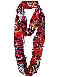damas bucle bufanda rojo azul blanco con símbolos náuticas con refriega - tamaño ...