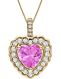 Silver Dew Jewelry 925 Pure Silver CZ Diamond Yellow Gold Plated Pink Sapphire Heart Shape Charm Pendant For Women's