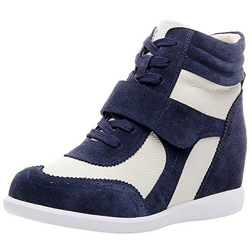 Rismart donna tacco a zeppa hook&loop brogue alto cima confortevole elegante sneaker scarpe sn8599(marina&beige,eu37)