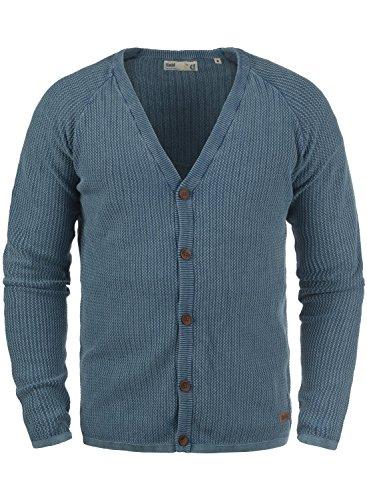 !Solid Tebi Herren Strickjacke Cardigan Grobstrick Winter Pullover mit V-Ausschnitt, Größe:L, Farbe:Dark Denim (1350) -