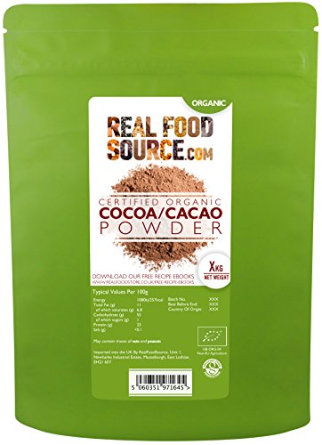 RealFoodSource Certified Organic Cacao / Cocoa Powder (500g)