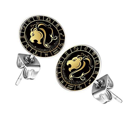 Mianova Ohrstecker Ohrringe Stecker Platte mit Sternzeichen Motiv Tierkreiszeichen Silber für Damen Herren oder Kinder Löwe