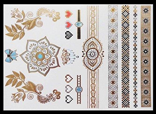 Mandala Tatuaje temporal tatuajes de flash Tatuajes Metálicos Tatuajes temporales g35 Oro,Plata Tatuajes