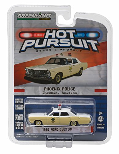 1967 FORD CUSTOM / PHOENIX, ARIZONA POLICE * Hot Pursuit Series 18 * 2016 Greenlight Collectibles Limited Edition 1:64 Scale Die-Cast Vehicle (1 18 Scale Diecast Greenlight)