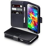 Terrapin Echt Leder Brieftasche Case Hülle mit Kartenfächer und Bargeld für Samsung Galaxy S5 Schwarz