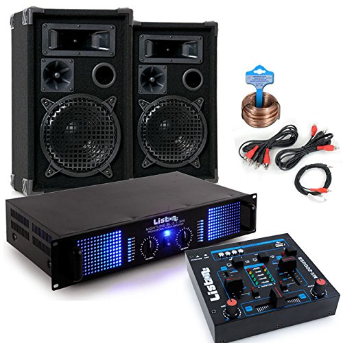 etc-shop 2400 Watt PA Kompakt Musik Anlage Verstärker Boxen USB MP3 Mixer DJ-Party 7