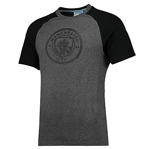 Manchester City Mens Gents Football Classic Raglan T Shirt Tee