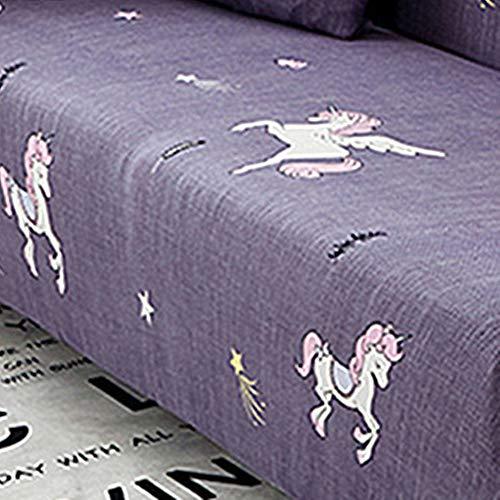 Chickwin copridivano, sofa salotto elasticizzato protettore imbottito mobili copertura panno antiscivolo divano protector casa decorativa (lunghezza divano 190-210 cm,unicorno)
