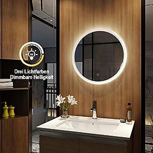 EMKE Wandspiegel Badezimmerspiegel LED Badspiegel mit Beleuchtung Spiegel Rund 60cm Dimmbar, Badspiegel Rund Lichtspiegel Dimmbar mit Touch Schalter, Warmweiß/Kaltweiß/Neutral 3000K-6400K