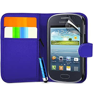 Supergets® Samsung Galaxy Fame S6810 Dark Blue Side Flip Wallet Case Covers, Screen Protector, Polishing Cloth and Mini Stylus
