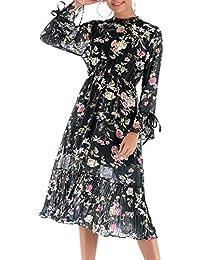 a452d89720 BLACKMYTH Mujer Casual Flor Impresion Gasa Volantes Manga Larga Cintura Alta  A Línea Campesino Vestido