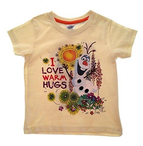 en Offizielles Frozen T-Shirts Kinder, Olaf Sommer Tops 100% Baumwolle Kurze Ärmel Kinder Kleidung Größe UK 2–8Jahren Gr. 18-24 Monate, Yellow - I Love Warm Hugs (Disney Princess Dress Up Kleidung)