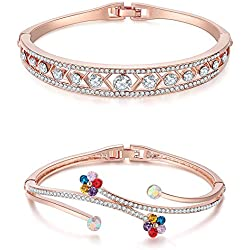Jewels Galaxy Aaa Vine Swiss Cubic Zirconia Floral Multicolor 18K Rose Gold Adjustable Bangle For Women - Combo Of 2