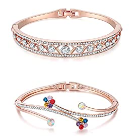 Jewels Galaxy Valentine Gifts AAA Swiss Cubic Zirconia 18K Rose Gold Plated Adjustable Bracelet for Women - Combo of 2