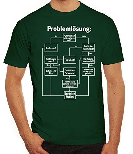 Nerd Herren T-Shirt mit Problemlösung Motiv von ShirtStreet Dunkelgrün