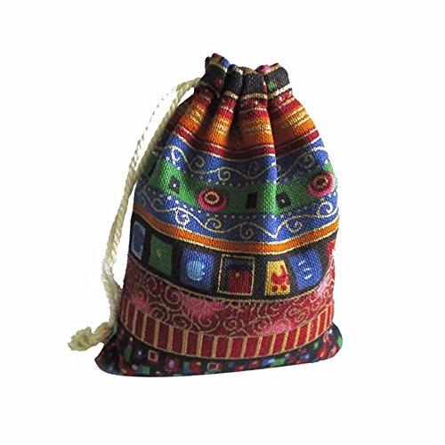 Vintage Bohemian Kordelzug Chic Folk Tribal gewebte String mit Kordelzug Aufbewahrungstasche, B Ein