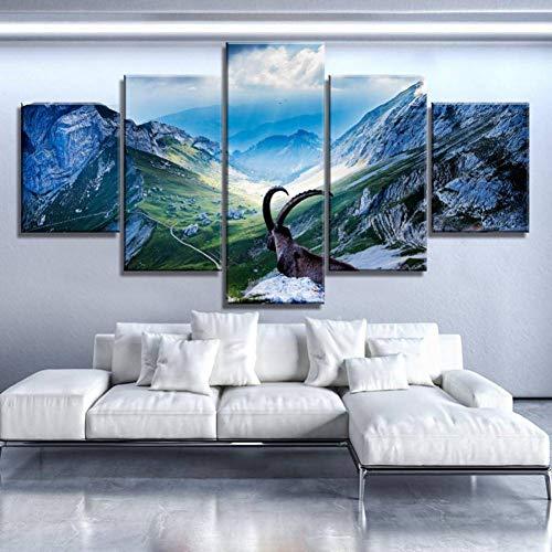 ZHANGWLH Wanddekorationsmalerei mit fünf Platten Moderne Pop Wand Kunstwerk Bild Modulare Leinwand Malerei Tier Antilope Ziege Poster Drucke Korridor (Bilder Von Ziegen)