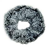 MANUMAR Loop-Schal für Damen | Hals-Tuch in schwarz weiß mit flauschigem Teddy Fell als perfektes Herbst/Winter-Accessoire | Schlauchschal | Damen-Schal | Rundschal | Geschenkidee für Frauen