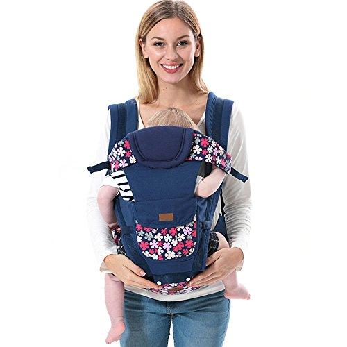 ThreeH Mochila portabebés nacidos transpirable con asiento y bolsillos para la cadera BC09,Blue