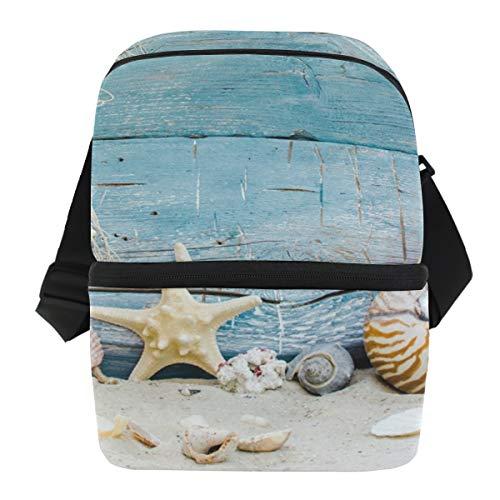 Bennigiry Lunchtasche mit Seesternen, Sandholz, doppelschichtig, isoliert, Kühltasche, für den täglichen Mittagessen, zur Arbeit oder für die Schule, Picknicktasche