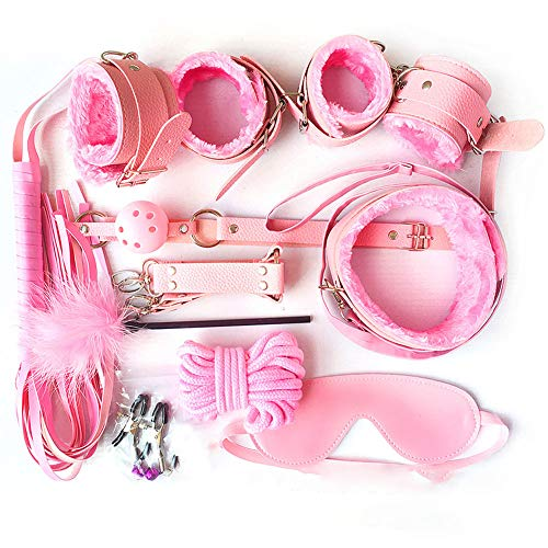 ZBSY Paar-Unterbett-Fesseln für Paare, Pink, 10-teilig