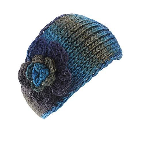 Neu Retro Warme Farbmischung Blume Häkelarbeit Gestrickt Stirnband Damen Haarband, LEEDY Mädchen Wolle Gehörschutz Hut Kopfband Headband Stirnbänder Kopfbedeckung