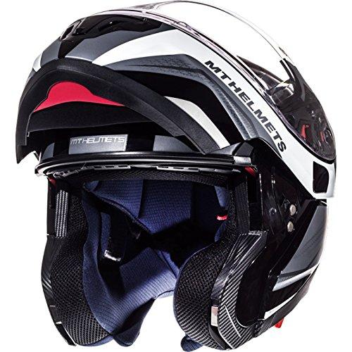 Dot Motorrad Helm Modular (105236576 - MT Atom SV Tarmac Flip Front Motorcycle Helmet L Gloss & Matt Black White)